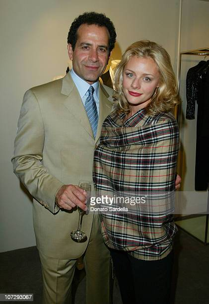 Tony Shalhoub and Jessica Cauffiel during Cerruti and David Cardona CoHost Private Party to Celebrate the Opening of Cerruti Beverly Hills Benefiting...