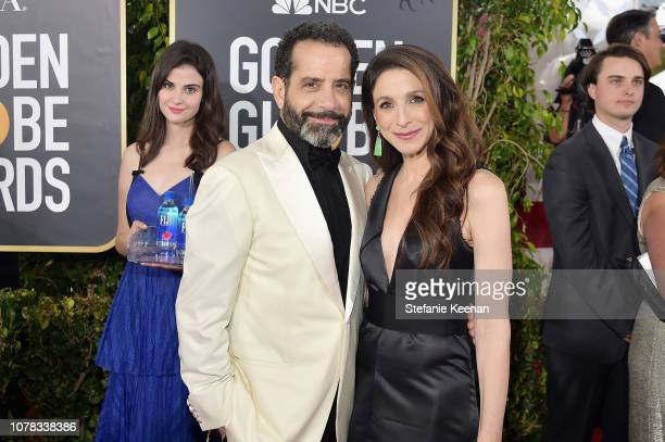 Tony Shalhoub and Marin Hinkle attend FIJI Water at the 76th Annual Golden Globe Awards on January 6 2019 at the Beverly Hilton in Los Angeles...