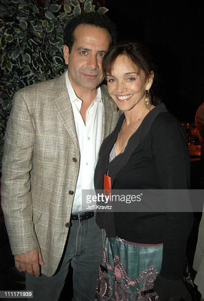 Tony Shalhoub and wife Brooke Adams during Comedy Central's First Annual 'Commies' Awards Backstage at Sony Studios in Culver City California United...