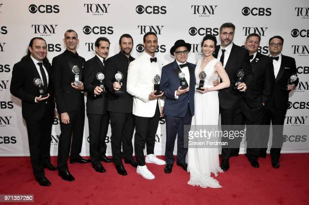 Tony Shalhoub Ari'el Stachel David Yazbek Katrina Lenk and the cast and crew of 'The Band's Visit' pose in the 72nd Annual Tony Awards Media Room at...