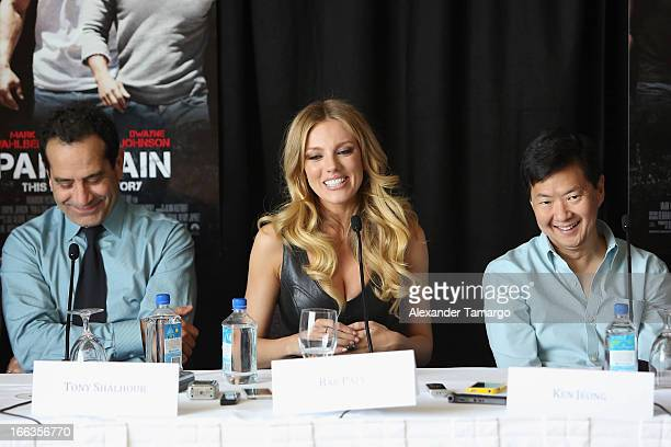 Tony Shalhoub Bar Paly and Ken Jeong attend the press conference of the Miami Premiere of 'Pain Gain' at Mandarin Oriental on April 11 2013 in Miami...