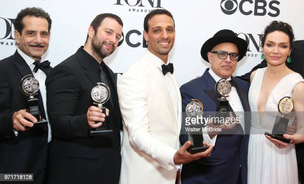 Tony Shalhoub Itamar Moses Ari'el Stachel David Yazbek and Katrina Lenk pose in the 72nd Annual Tony Awards Press Room at 3 West Club on June 10 2018...