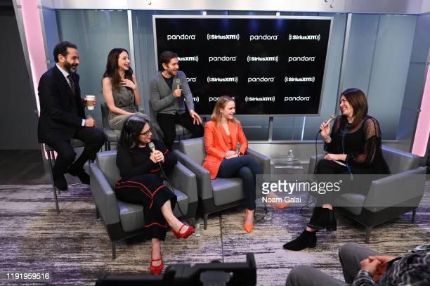 Tony Shalhoub, Marin Hinkle, Alex Borstein, Michael Zegen and Rachel Brosnahan attend SiriusXM's Town Hall with the cast of 'The Marvelous Mrs....