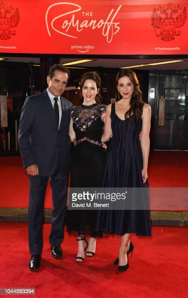 Tony Shalhoub Rachel Brosnahan and Marin Hinkle attend the World Premiere of Amazon Prime Video's The Romanoffs at The Curzon Mayfair on October 2...