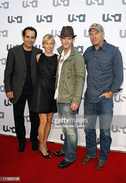 Tony Shalhoub Traylor Howard Jason GrayStanford and Ted Levine attend Monk Celebrates 100 Episodes at the Pan e Vino Restaurant on August 3 2008 in...