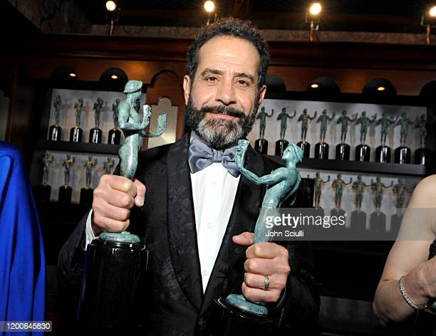Tony Shalhoub Winner of Outstanding Performance by an Ensemble in a Comedy Series for 'The Marvelous Mrs Maisel' poses in the trophy room during the...