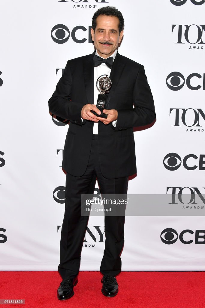 Tony Shalhoub, winner of the award for Best Performance by an Actor in a Leading Role in a Musical for 'The Band's Visit,' poses in the 72nd Annual Tony Awards Media Room at 3 West Club on June 10, 2018 in New York City.