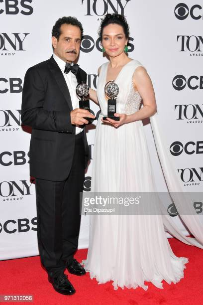Tony Shaloub and Katrina Lenk pose backstage during the 72nd Annual Tony Awards at Radio City Music Hall on June 10 2018 in New York City