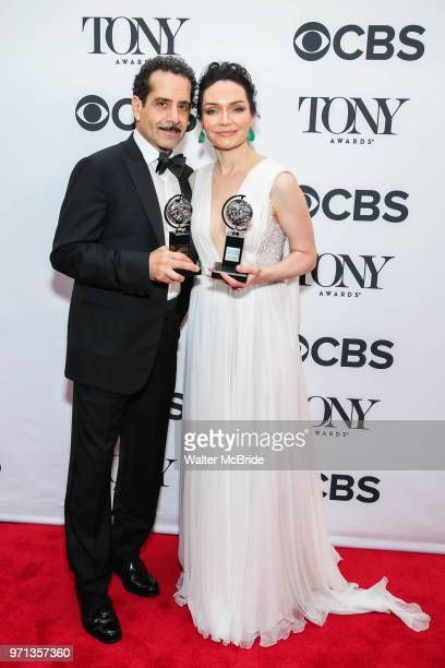 Tony Shaloub and Katrina Lenk pose in the 72nd Annual Tony Awards Press Room at 3 West Club on June 10 2018 in New York City