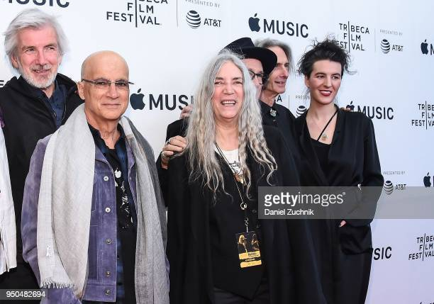 Tony Shanahan Jimmy Iovine Patti Smith Lenny Kaye and Jesse Smith attend the screening of 'Horses Patti Smith and Her Band' during the 2018 Tribeca...