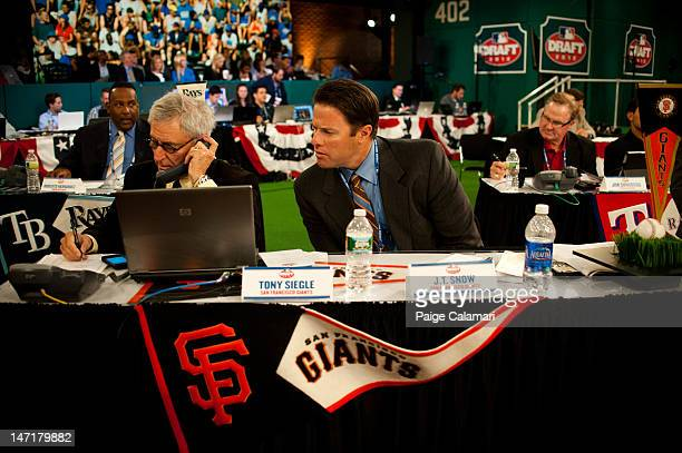 Tony Siegle and JT Snow are seen during the 2012 FirstYear Player Draft Monday June 4 at MLB Network's Studio 42 in Secaucus New Jersey