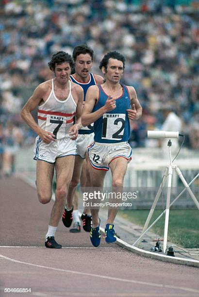 Tony Simmons leads Brendan Foster and Ian Stewart in the men's 10000 metres event during the Olympic trials at Crystal Palace in London on 12th June...