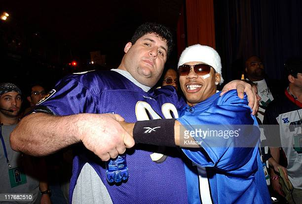 Tony Siragusa and Nelly during Super Bowl XXXVI MTV's Rock 'N Jock at New Orleans Convention Center in New Orleans Louisiana United States