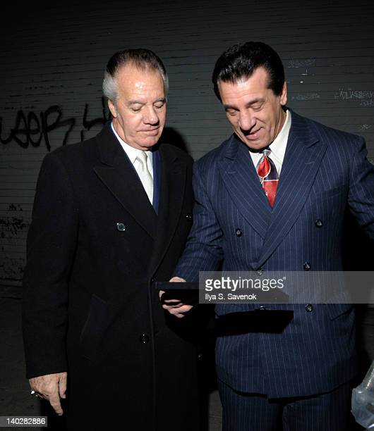 Tony Sirico and Chuck Zito attend Chuck Zito's birthday party during Jaguars 3 opening night on March 1 2012 in the Brooklyn borough of New York City
