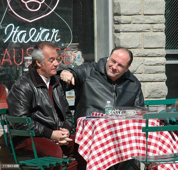 Tony Sirico and James Gandolfini during 'The Sopranos' On Location at Satriale's Pork Store March 20 2007 at Satriale's Pork Store in Kearny New...