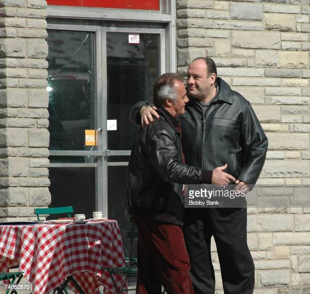 Tony Sirico and James Gandolfini during The Sopranos On Location at Satriale's Pork Store March 20 2007 at the Satriale's Pork Store in Kearny New...