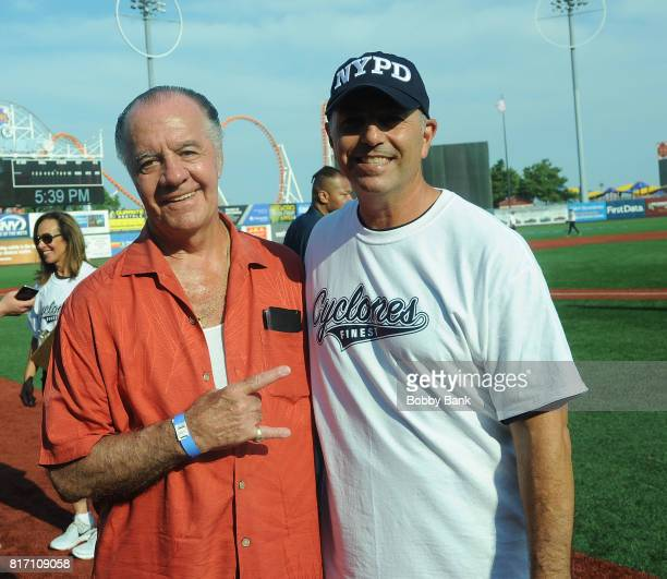 Tony Sirico and John Franco attend the NYPD Holds Fundraiser For Slain Officer Miosotis Familia at MCU Park in Coney Island on July 17 2017 in New...