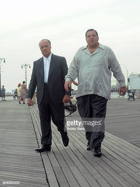 Tony Sirico and Steve Schirripa on set filming Woody Allen's new Fall Project on September 20 2016 in New York City