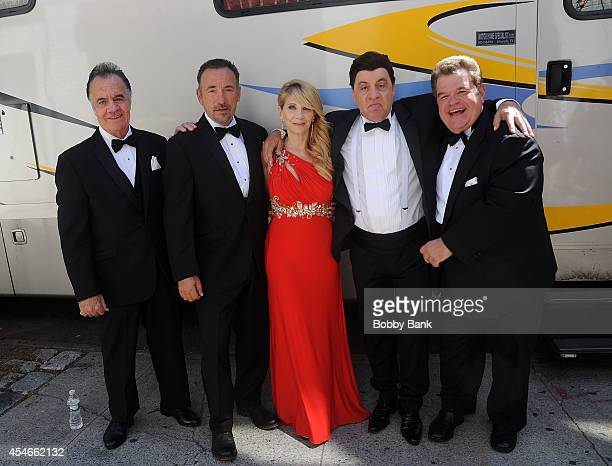 Tony Sirico Bruce Springsteen Maureen Van Zandt Steven Van Zandt and Michael Badalucco on the set of Lilyhammer on September 4 2014 in New York City