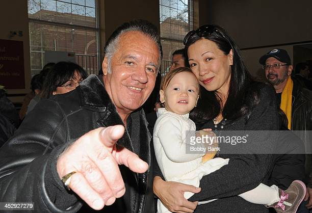Tony Sirico Deborah Lin and daughter Liliana Ruth Gandolfini attend the James Gandolfini Street Naming Ceremony on December 1 2013 in Park Ridge New...