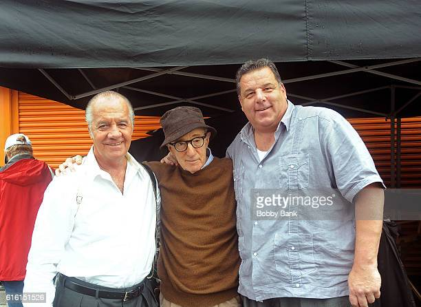 Tony Sirico director Woody Allen and Steve Schirripa on the set of the 'Woody Allen Summer Project' movie on October 21 2016 in New York City