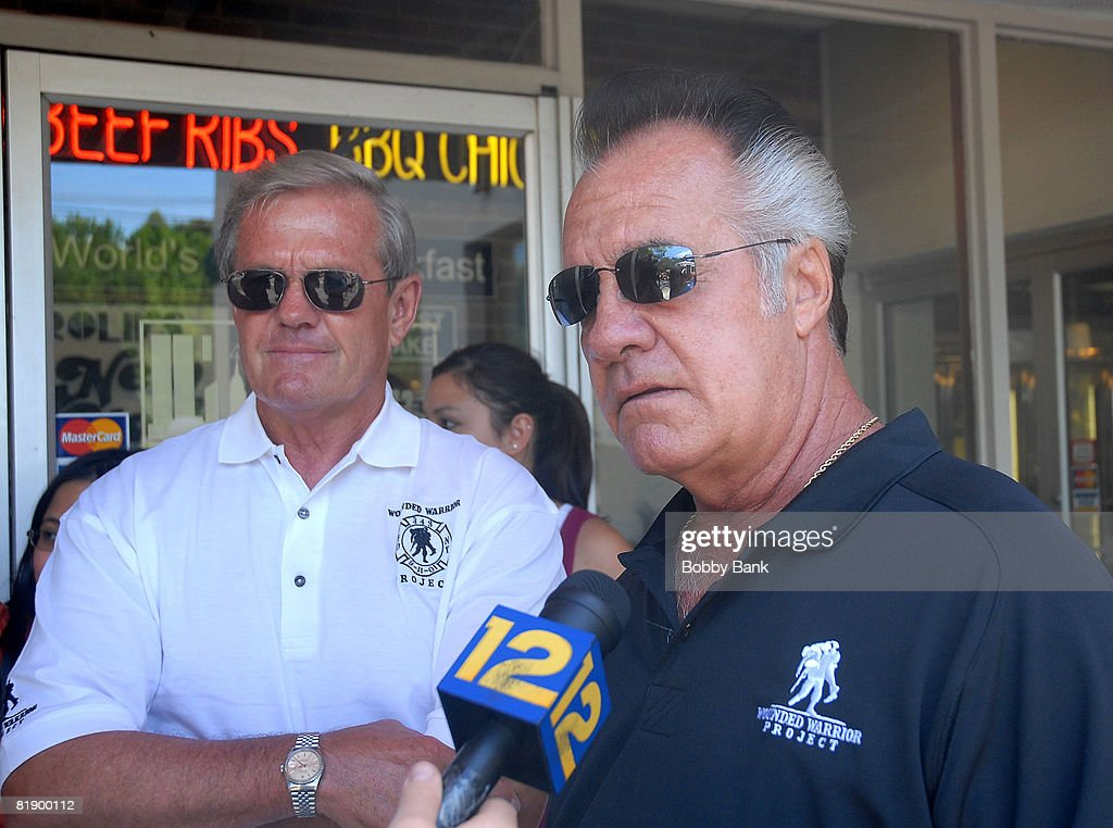 Tony Sirico of the Sopranos and Flip Mullen of The Wounded Warrior Project attend the Wounded Warrior Soldiers Project luncheon at Harold's Deli on July 10, 2008 in Edison, New Jersey.