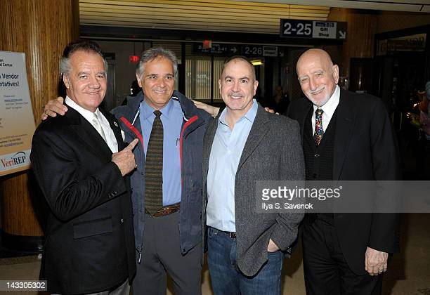 Tony Sirico Terence Winter and Dominic Chianese visit Lutheran Medical Center on April 23 2012 in the Brooklyn borough of New York City