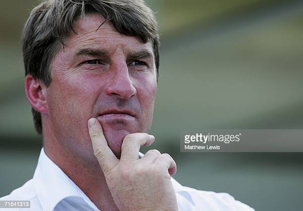 Tony Smith coach of Leeds looks on during the Powergen Challenge Cup Semi Final match between Leeds Rhinos and Huddersfield Giants at the Gratten...