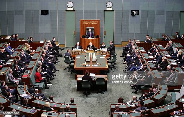 Tony Smith in his new roll as Speaker of the House of Represenatives at Parliament House on August 10 2015 in Canberra Australia Bronwyn Bishop...