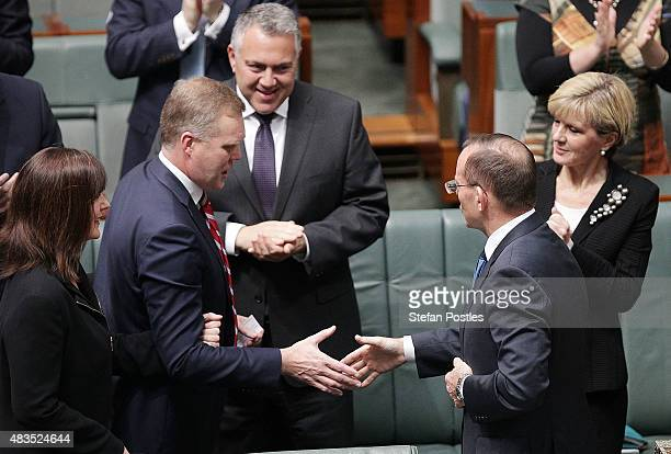 Tony Smith is congratulated by Prime Minister Tony Abbott on his new roll as Speaker of the House at Parliament House on August 10 2015 in Canberra...
