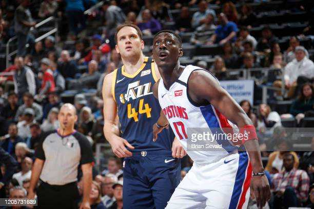 Tony Snell of the Detroit Pistons and Bojan Bogdanovic of the Utah Jazz fight for position on March 7 2020 at Little Caesars Arena in Detroit...