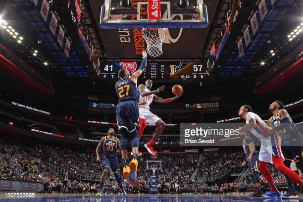 Tony Snell of the Detroit Pistons drives to the basket during the game against the Utah Jazz on March 7 2020 at Little Caesars Arena in Detroit...