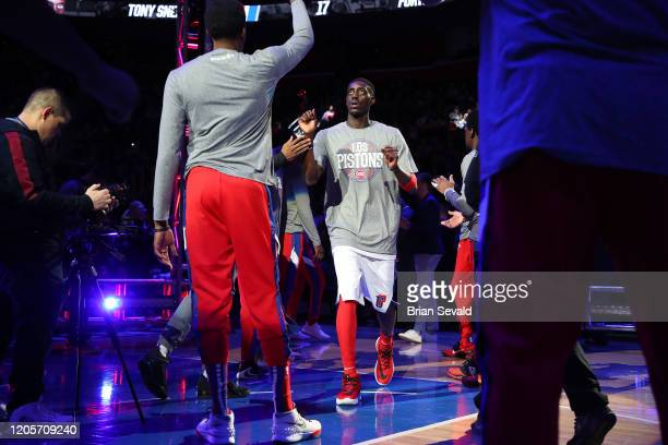 Tony Snell of the Detroit Pistons introduced prior to the game against the Utah Jazz on March 7 2020 at Little Caesars Arena in Detroit Michigan NOTE...