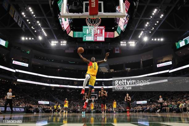 Tony Snell of the Milwaukee Bucks dunks the ball in the second quarter against the Cleveland Cavaliers at the Fiserv Forum on March 24 2019 in...