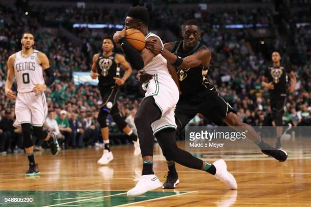 Tony Snell of the Milwaukee Bucks fouls Jaylen Brown of the Boston Celtics during the third quarter of Game One of Round One of the 2018 NBA Playoffs...