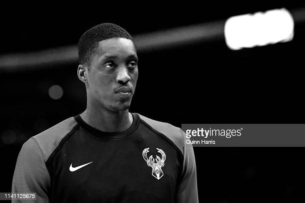 Tony Snell of the Milwaukee Bucks looks on from the bench in the second half against the Brooklyn Nets at Fiserv Forum on April 06 2019 in Milwaukee...