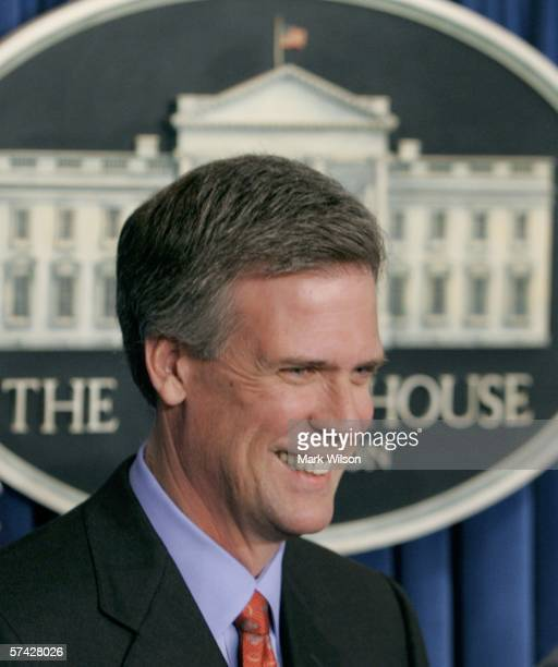 Tony Snow smiles after U.S. President George W. Bush announced that Snow will be the new White House Press Secretary April 26, 2006 in Washington,...