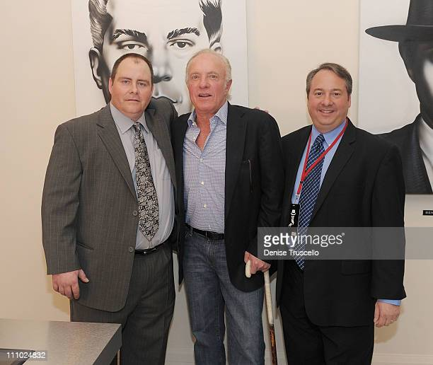 Tony Spilotro's son Vincent Spilotro actor James Caan and Jay Bloom during a tour of Las Vegas Mob Experience at The Tropicana on March 28 2011 in...