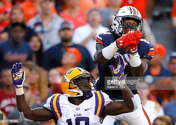 Tony Stevens of the Auburn Tigers fails to pull in this touchdown reception against Tre'Davious White of the LSU Tigers at JordanHare Stadium on...