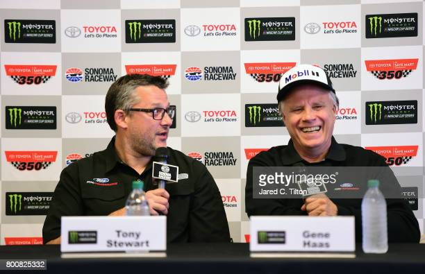 Tony Stewart and Gene Haas talk to the media during a press conference after the Monster Energy NASCAR Cup Series Toyota/Save Mart 350 at Sonoma...