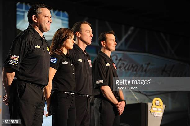 Tony Stewart coowner of StewartHaas Racing and driver of the Bass Pro Shops Chevrolet Danica Patrick driver of the GoDaddycom Chevrolet Kevin Harvick...