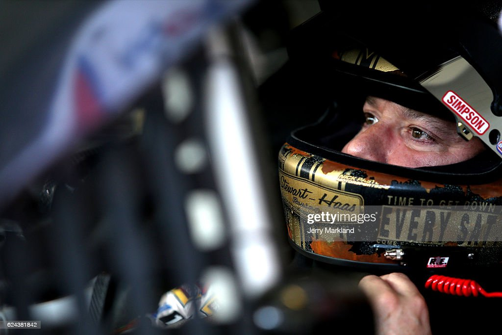 Tony Stewart, driver of the #14 Always a Racer/Mobil 1 Chevrolet, sits in his car during practice for the NASCAR Sprint Cup Series Ford EcoBoost 400 at Homestead-Miami Speedway on November 19, 2016 in Homestead, Florida.