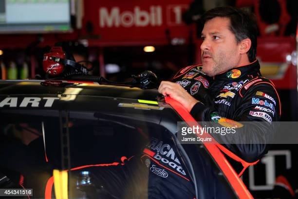 Tony Stewart driver of the Bass Pro Shops / Mobil 1 Chevrolet climbs into his car prior to practice for the NASCAR Sprint Cup Series OralB USA 500 at...