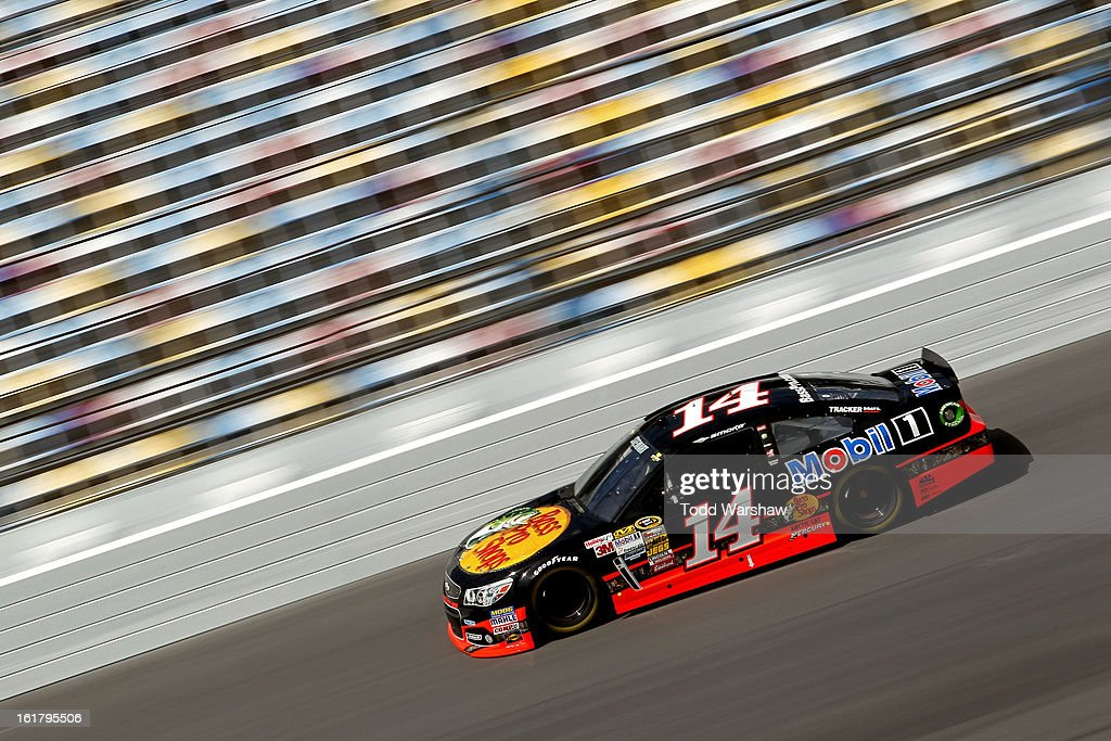 Tony Stewart, driver of the #14 Bass Pro Shops/Mobil 1 Chevrolet, during practice for the NASCAR Sprint Cup Series Daytona 500 at Daytona International Speedway on February 16, 2013 in Daytona Beach, Florida