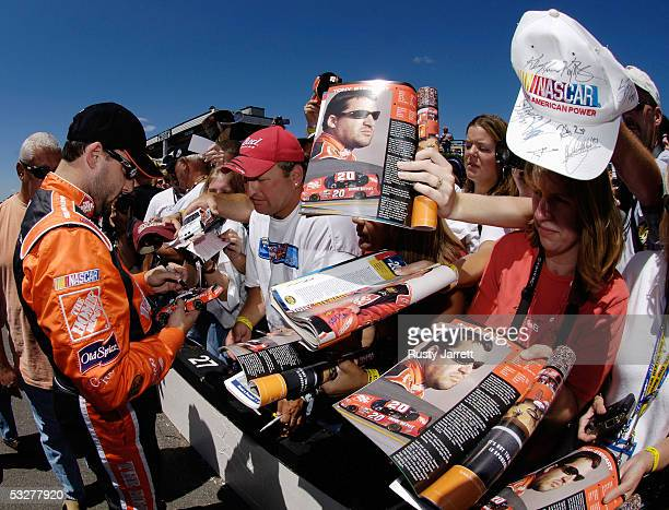 Tony Stewart, driver of the Home Depot Chevrolet, during qualifying for the NASCAR Nextel Cup Series Pennsylvania 500 on July 23, 2005 at the Pocono...