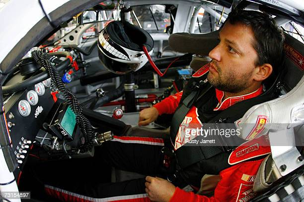 Tony Stewart driver of the Home Depot Chevrolet prepares to drive during NASCAR testing at Las Vegas Motor Speedway on January 30 2007 in Las Vegas...