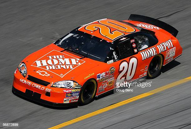 Tony Stewart driver of The Home Depot Chevrolet runs a lap during NASCAR Nextel Cup Series practice at Daytona International Speedway on February 17...
