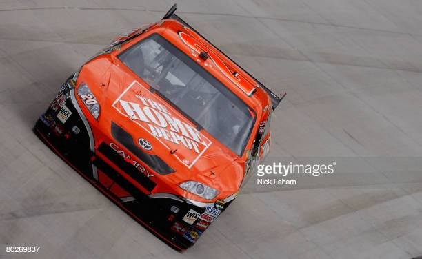 Tony Stewart driver of the Home Depot Toyota races during the NASCAR Sprint Cup Series Food City 500 at the Bristol Motor Speedway on March 16 2008...