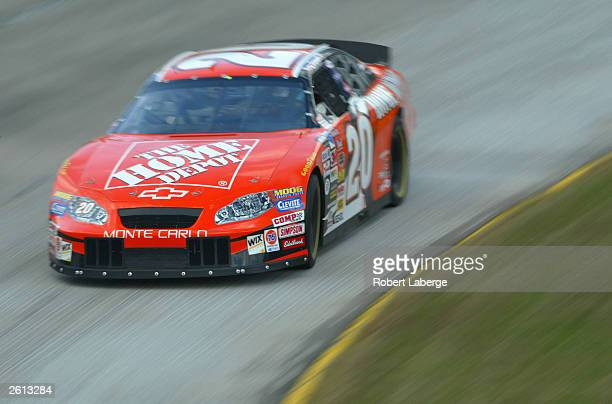 Tony Stewart driver of the Joe Gibbs Home Depot Chevrolet on track during practice for the NASCAR Winston Cup Subway 500 on October 18 2003 at the...