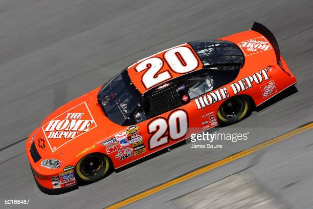 Tony Stewart driver of the Joe Gibbs Racing Home Depot Chevrolet in action during practice for the NASCAR Nextel Cup Daytona 500 on February 12 2005...